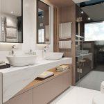 100 yacht Master Stateroom TV -Bathroom