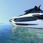 100 yacht render on water - AFT